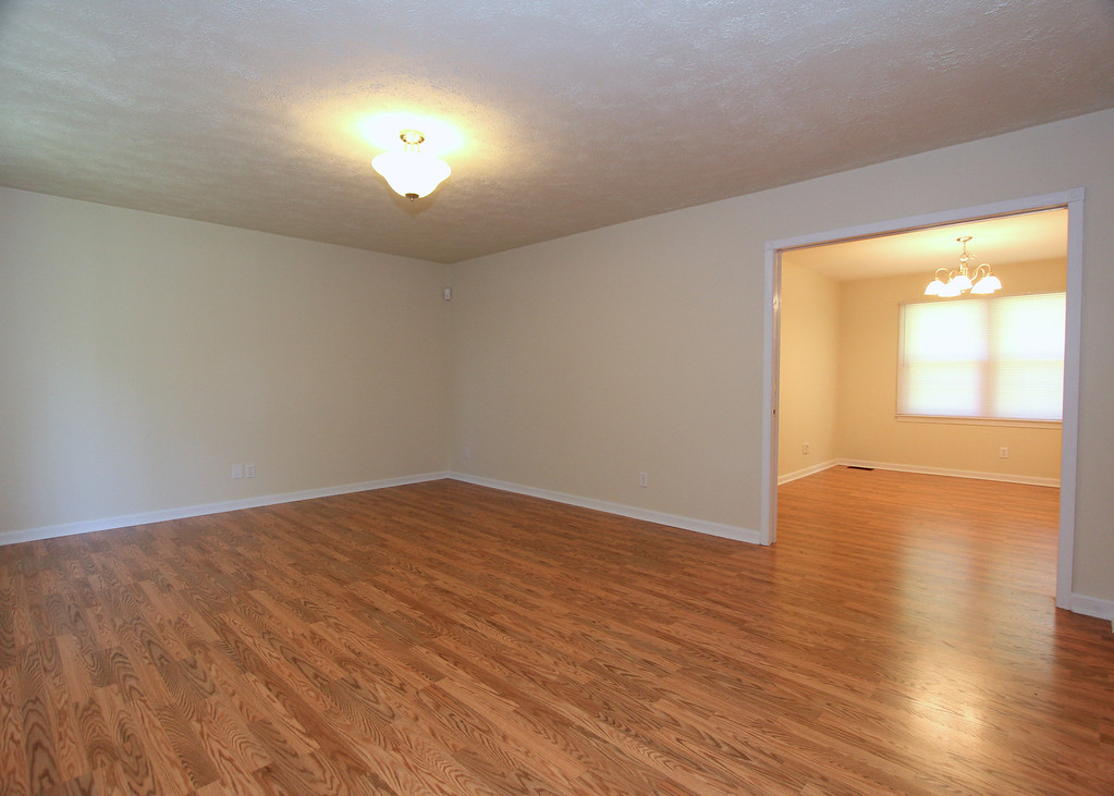 Living room flows to dining room.