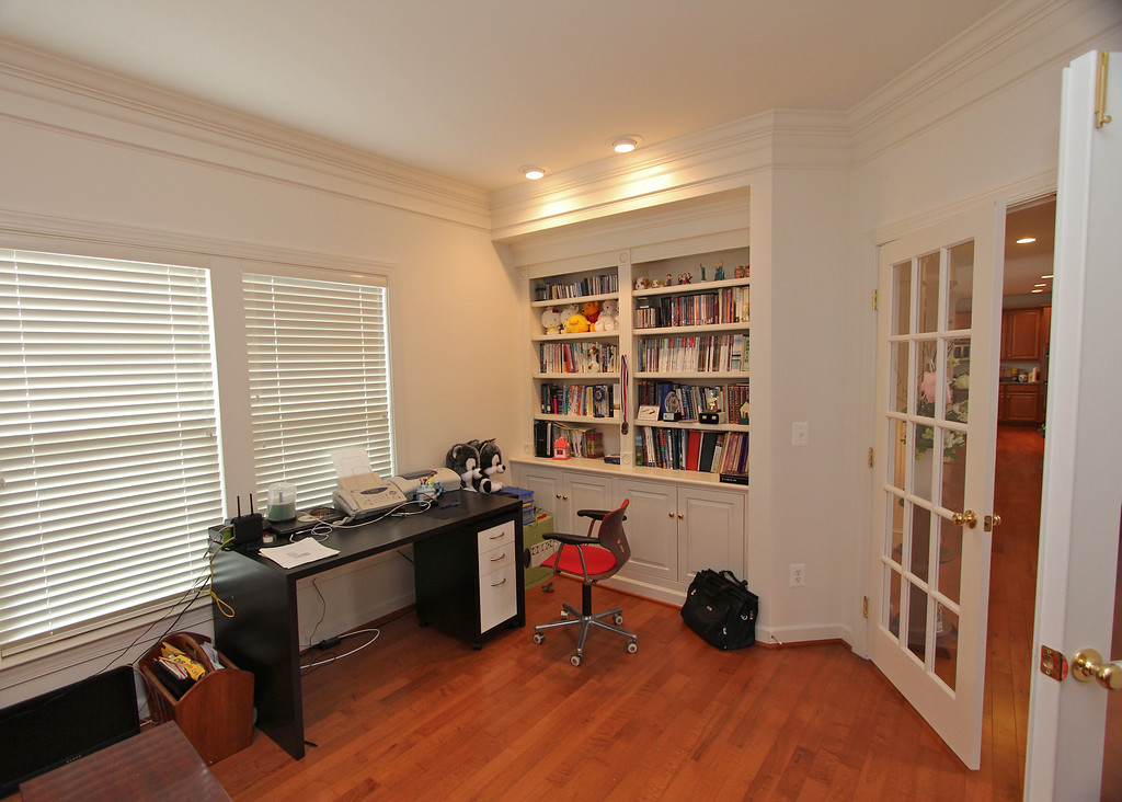 Built-in bookcase in the den/library/office