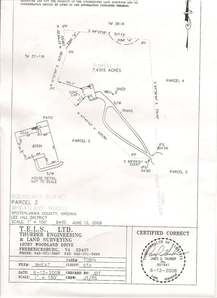 Property plat showing the 7+ acres and house location.