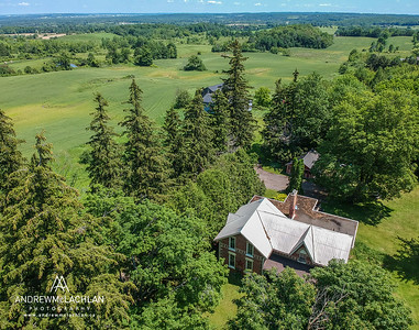 Aerial view of century home in the Oak Ridges Moraine