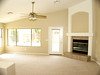 Bright open family room with instant-on gas fireplace
