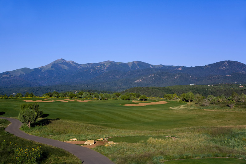 Hole 12, with 12,000-ft Sierra Blanca in the distance, Rainmakers Golf & Recreation Community, Alto, New Mexico (Ruidoso)