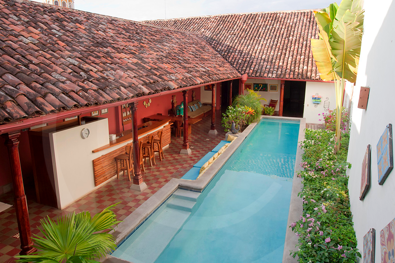 Second floor overview, pool and kitchen area, Casa Yalula, Granada, Nicaragua.