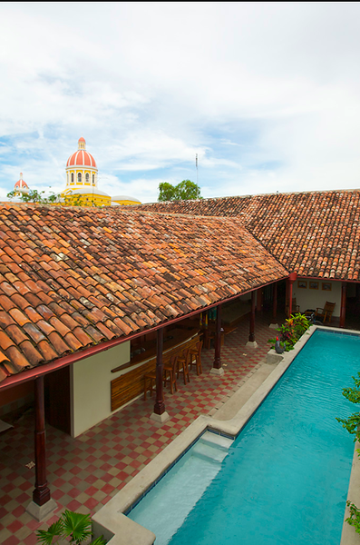 Cathedral view, second story, pool and kitchen area, Casa Yalula, Granada, Nicaragua.