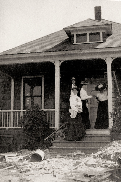 1903  Very early photo of the house, before dormer was enlarged. I believe the window Is where the door is that goes from the present-day sun-room to the bedroom.