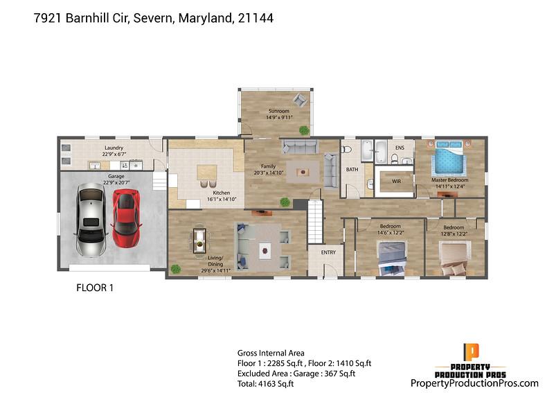 7921 Barnhill Cir, Severn, Maryland, 21144 2D 1