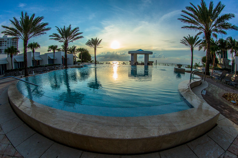 Oceanside views from the pool at sunrise are beautiful from the luxury condo.