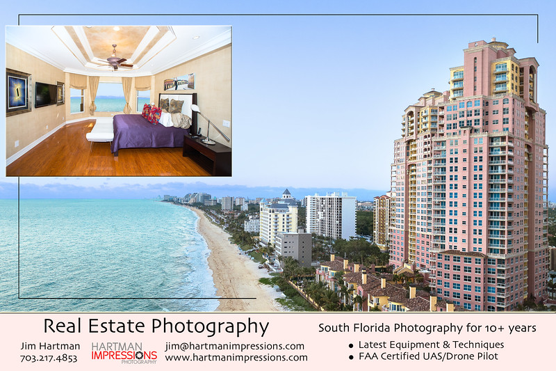 10 Years of experience in the Real Estate business -- South Florida.  Whether your property is a small condo, or a large multimillion-dollar listing, Hartman Impressions Photography will leave prospective clients with the urge to buy now!  Licensed FAA UAS/Drone Pilot.