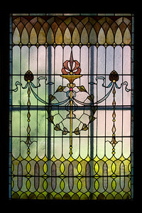 Stairway landing stained glass window