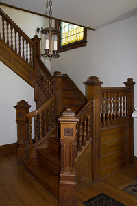 Staircase with stained glass window