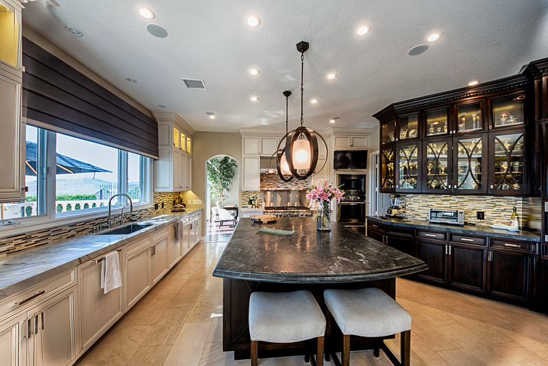 Custom Kitchen features HUGE Island Prep Area