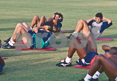 Iker Casillas and Iván Campos with Real Madrid training at La Manga Club, 20th August 2000
