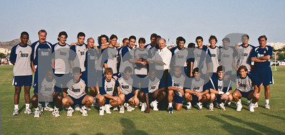 Real Madrid squad with Raúl, Fígo, Steve McManaman, Iker Casillas, Roberto Carlos, Guti, Iván Campos at La Manga Club, 20th August 2000