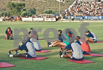 Figo, Iker Casillas and Guti with Real Madrid training at La Manga Club, 20th August 2000