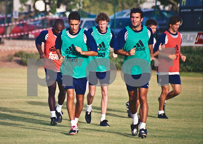 Raúl, Figo and Steve McManaman with Real Madrid training at La Manga Club, 20th August 2000
