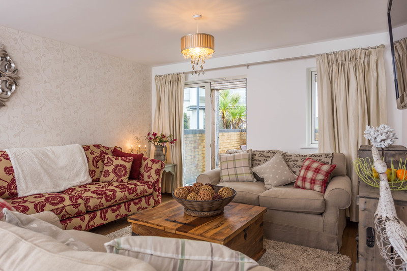 Comfy lounge with soft sofas and inviting decor