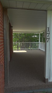 """Porch Detail"". Newly renovated well built home for sale. Large lot, brick siding, 2 bedroom, 2 full bathrooms, tile everywhere, hardwood floors, carpet, full finished basement, garage, attention to detail, great neighborhood, Laurel Highlands School District."