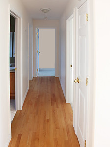 Hall with gleaming hardwood floor to main bedrooms.