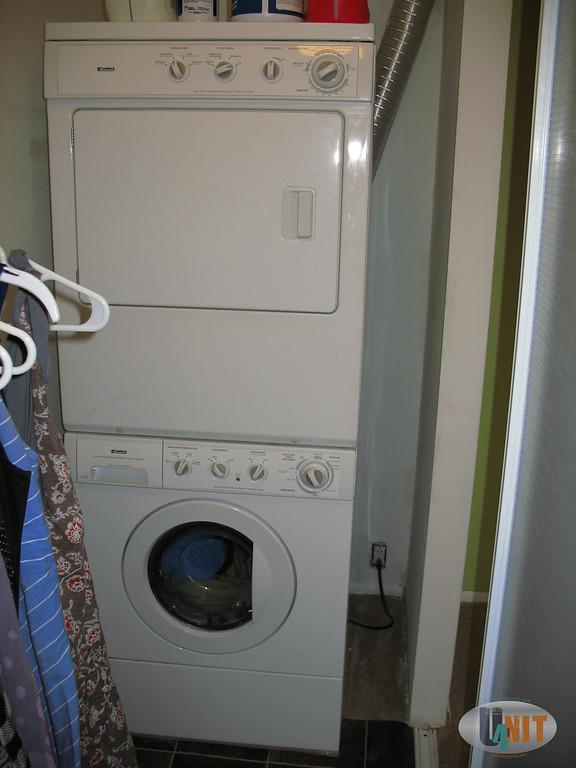 Linoleum flooring for clean laundry area.