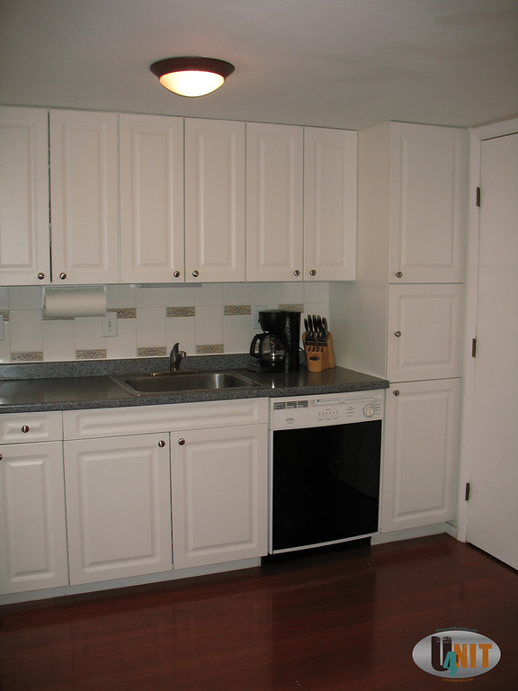 Kitchen all modern well functioning appliances, brushed nickel hardware and faucet.  Mahogany  wood flooring. Extra cabinets for storage