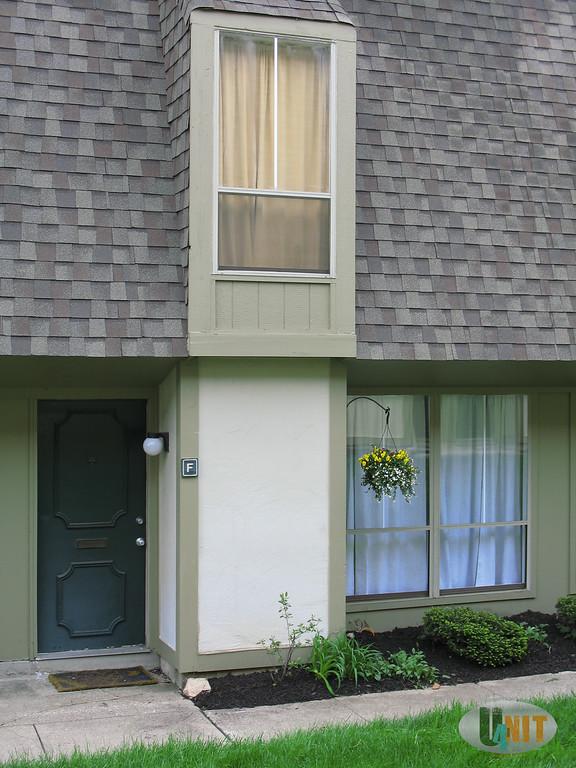 Front door entrance detail. West Virginia University door mat not included.
