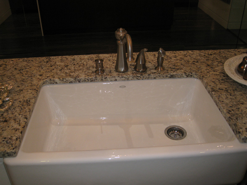 IMG_4364<br /> Kohler Whitehaven Farm Sink - $1,800 upgrade<br /> Standard sink is Stainless Steel undermount 50/50 split;<br /> upgrade to 60/40 for $100