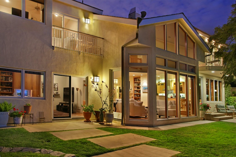 Beautiful night exterior of back of house