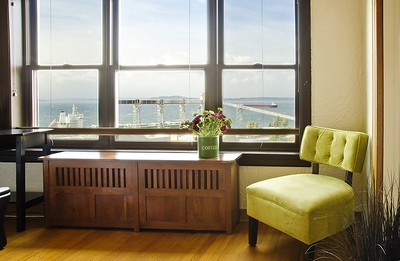 The breathtaking view of Elliott Bay from the wall of windows.