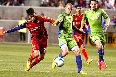 Real Salt Lake vs Seattle Sounders FC  3-30-2013. Sebastian Velasquez (26)
