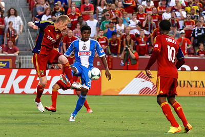 Real Salt Lake vs Philadelphia Union 7-3-2013. RSL ties Philly 2-2. Nat Borchers (6)