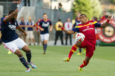 Real Salt Lake vs New England Revolution at Rio Tinto Stadium 07-04-2014. RSL defeats New England 2-1.