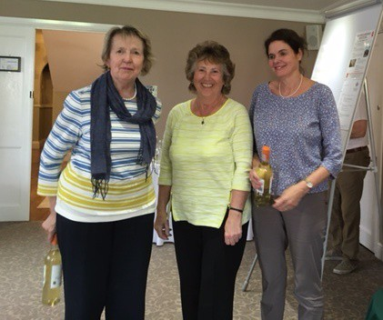 Wroxton Spring 2017.  Julia Disney & Sue Endersby  (with Jean Carter, event host, centre) :  Friday  Pairs winners