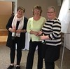 Wroxton Spring 2017. Michelle Cox & Anna Collett   (with Jean Carter, event host, centre) :  Sat afternoon  Pairs winners ; Sat evening pairs winners; Swiss pairs runners up