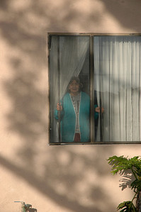 The homeowner peers out the window to see what's going on.