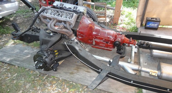 """Old block and a pair of LT1 heads and bare headers just for mock up and fitment. On final assembly, the """"good stuff"""" was substituted."""