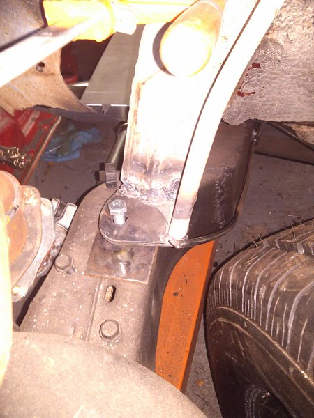 """New """"body mount pad"""" to mate up with the S-10 front clip."""