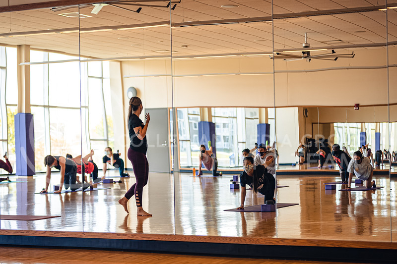 Chester E. Peters Recreation Complex has continued to open up many areas of the building in stages, including the basketball courts, climbing wall, and group fitness activities like yoga. 4/21/21. (Dylan Connell | Collegian Media Group)