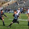 Taking on defender #2.