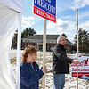 Shirley recall election was held on Monday January 30, 2017 at Town Hall. Holding signs outside of the polls is Kendra and Bryan Dumont. SUN/JOHN LOVE