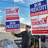 Shirley recall election was held on Monday January 30, 2017 at Town Hall. Holding signs out side of the Town Offices is, from left Kevin Hayes and Bob Prescott Sr. SUN/JOHN LOVE