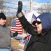 Shirley recall election was held on Monday January 30, 2017 at Town Hall. Waving to voters as they pull in to vote outside of the polls on Monday Holly Haase. SUN/JOHN LOVE