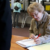 Shirley recall election was held on Monday January 30, 2017 at Town Hall. Checking in voters was election worker Laurie Witherell. SUN/JOHN LOVE