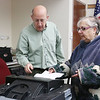 Shirley recall election was held on Monday January 30, 2017 at Town Hall. Election worker Bill Oelfki helps Ronda Paris as she cast his ballot at the recall. SUN/JOHN LOVE