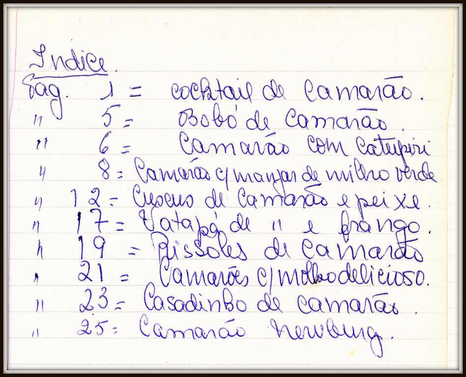 Indice do Caderno  de Receitas IV