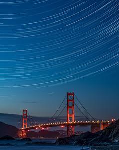 Star Trails over Golden Gate Bridge