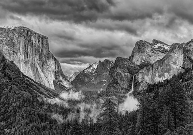 The Misty Valley in Black and White