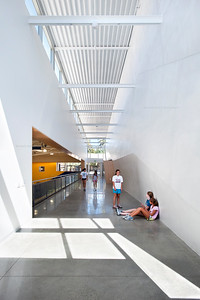 Menlo School Gym, Atherton, CA.Kevin Hart Architecture, Vance Brown Builders. Entry to Gymnasium.