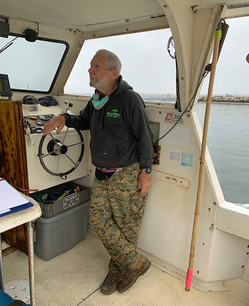 Captain Andy Saxon running the Moby Kate