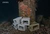 Cinder blocks next to the barrel <br /> Golf Ball Reef, Palos Verdes, Los Angeles County, California