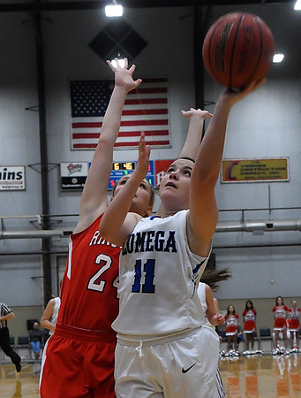 Lomega's Maci Mendell gets by Ringwood's Abigail Anderson during the semi-finals of the Cherokee Conference Basketball Tournament Friday January 20, 2017 at the Chisholm Trail Expo Center. (Billy Hefton / Enid News & Eagle)